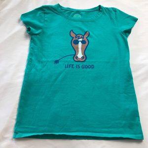 Life is Good Short Sleeve Tee Sz LG Green w Horse